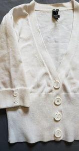 Take Out White Cropped Button Down Cardigan